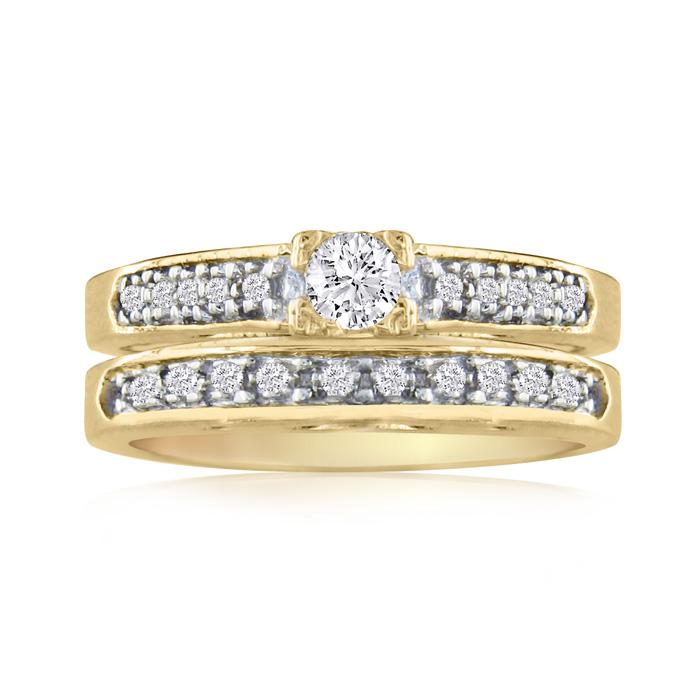 1ct Ladies Traditional Diamond Bridal Set, 14k Yellow Gold