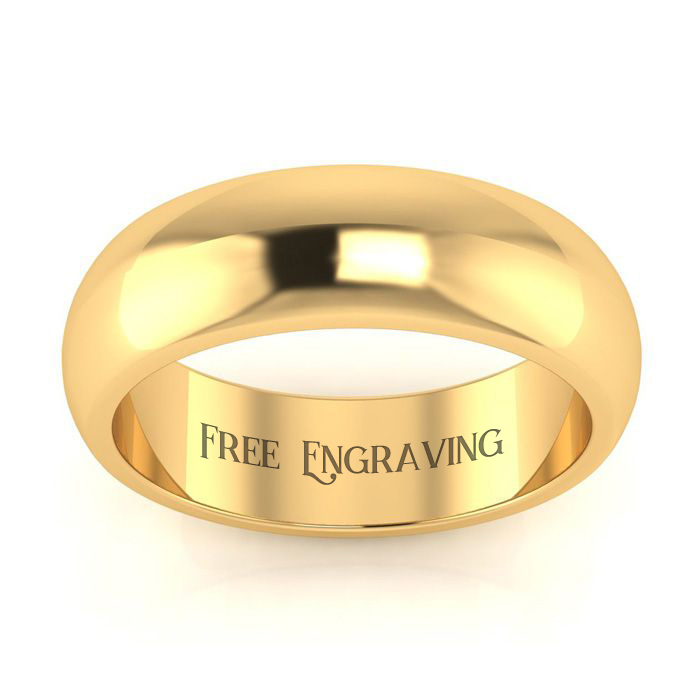 14k Yellow Gold 6mm Comfort Fit Ladies And Mens Wedding Band, Size 15, Free Engraving