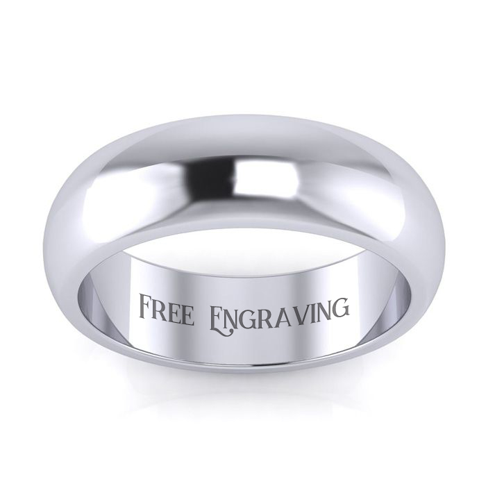 18k White Gold 6mm Comfort Fit Ladies And Mens Wedding Band, Size 12, Free Engraving
