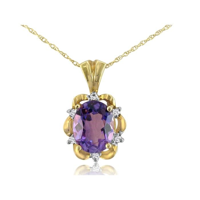 Big Amethyst and Diamond Pendant Set in 14k Yellow Gold Mounting