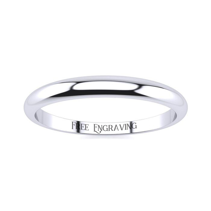 18k White Gold 2mm Heavy Tapered Ladies And Mens Wedding Band, Size 6, Free Engraving