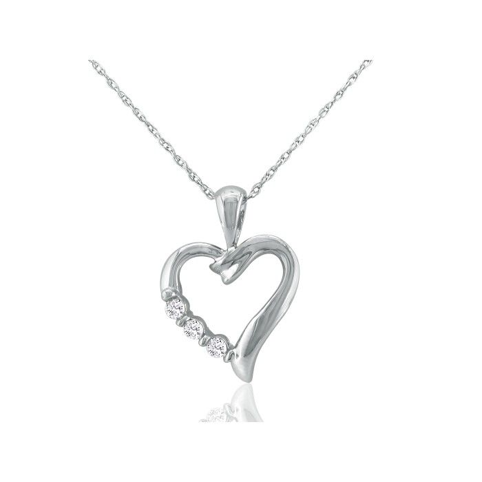 .08ct Three Diamond Heart Pendant in 10k White Gold