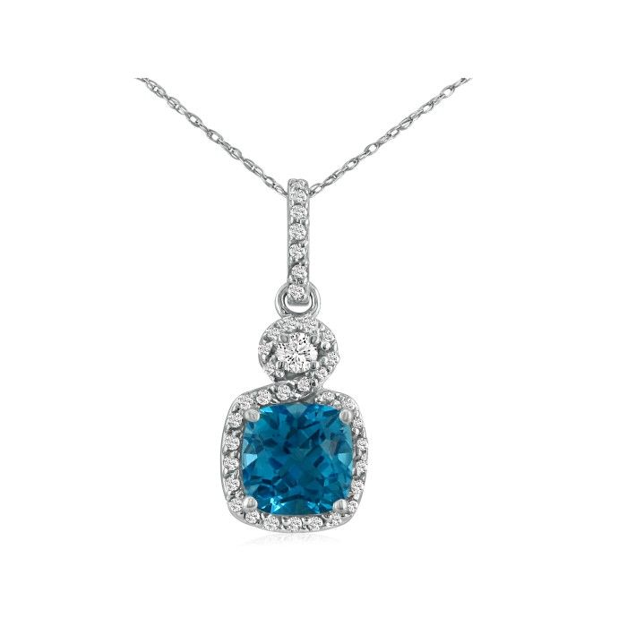 Dangling Micropave Blue Topaz and Diamond Pendant, 14k White Gold