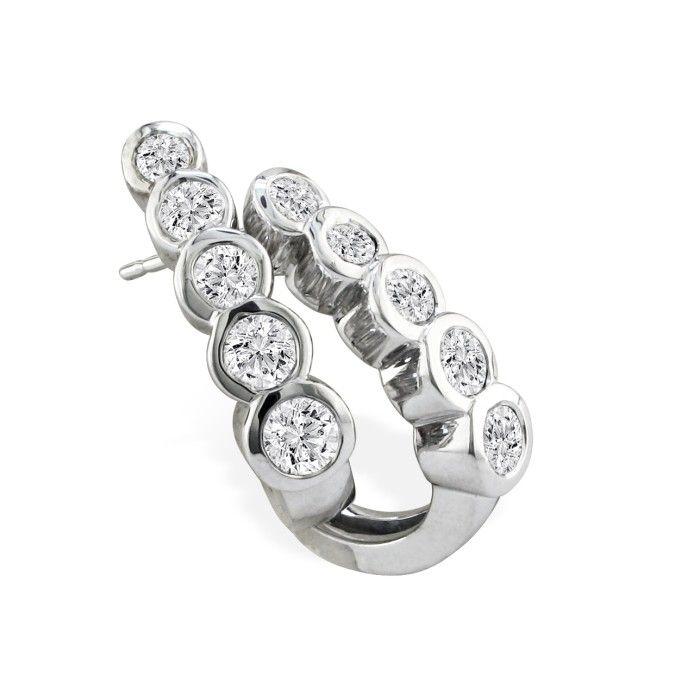 3/4ct Bezel Set Journey Diamond Hoop Earrings in 14k White Gold