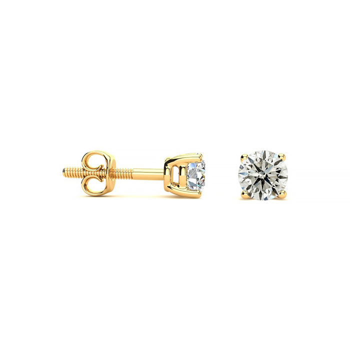 1/3ct Diamond Stud Earrings In 14k Yellow Gold, J/K Color, I1 Clarity - Saint Patrick's Day Diamond Jewelry Deals