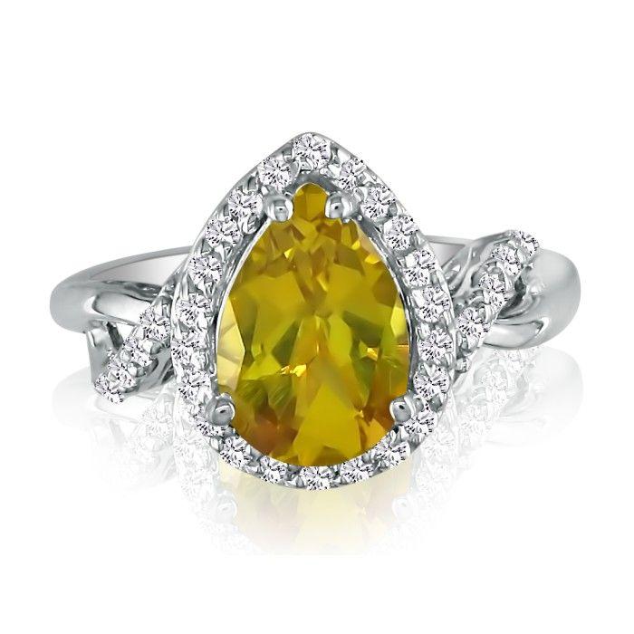 2 1/2ct Flip Shank Lemon Quartz and Diamond  Ring in 14K White Gold