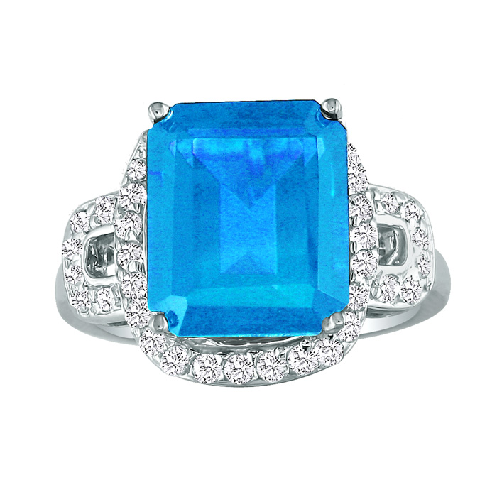 4ct emerald cut blue topaz and ring 14k white