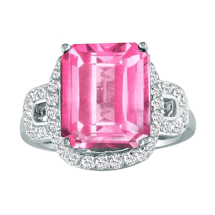 4ct cushion cut pink topaz and ring 14k white