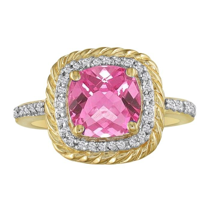 Rope Design Pink Topaz and Diamond Ring in 14k Yellow Gold