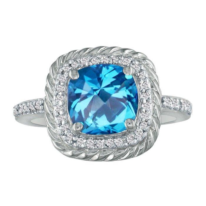 Rope Design Blue Topaz And Diamond Ring In 14k White Gold