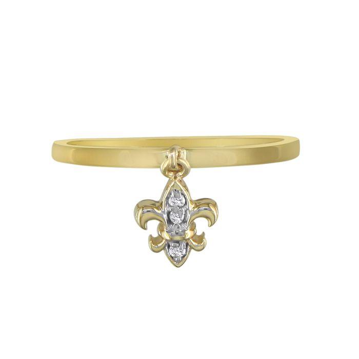fleur de lis charm style ring in 10k yellow gold
