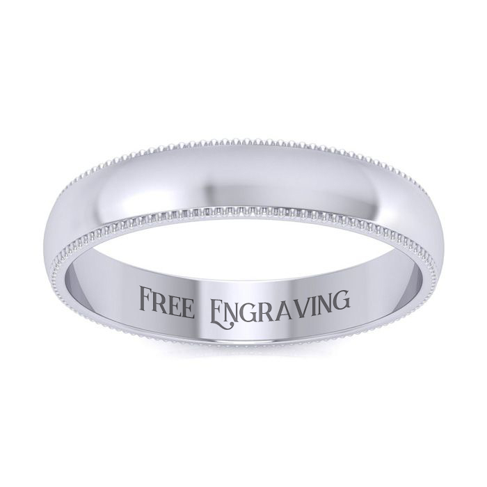14k White Gold 4mm Comfort Fit Milgrain Ladies And Mens Wedding Band, Size 9, Free Engraving
