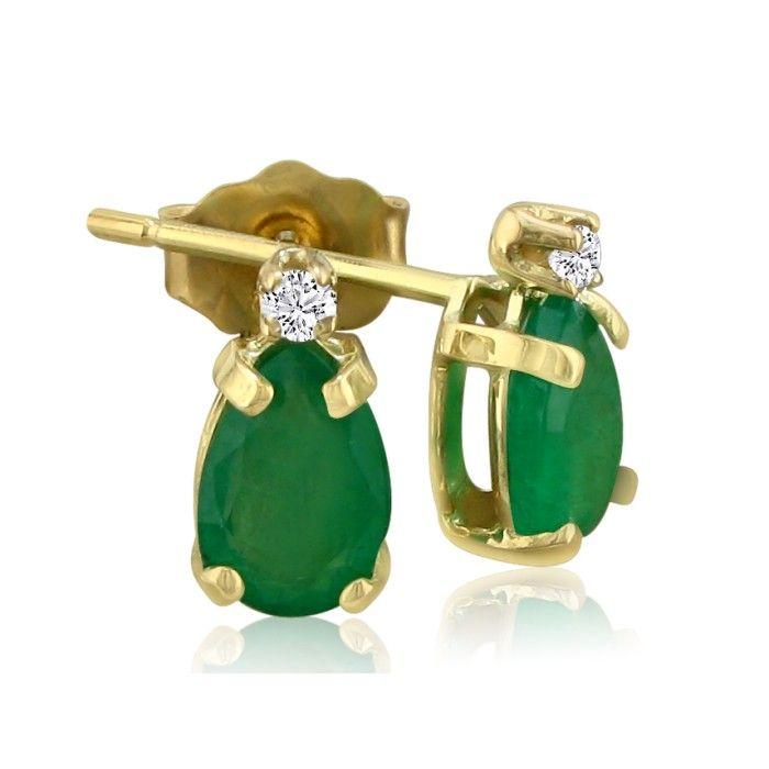 1 3/4ct Pear Emerald and Diamond Earrings in 14k Yellow Gold