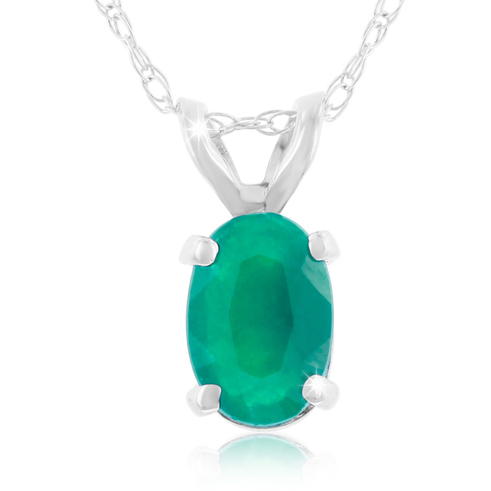 1/2ct Oval Emerald Pendant In 14k White Gold