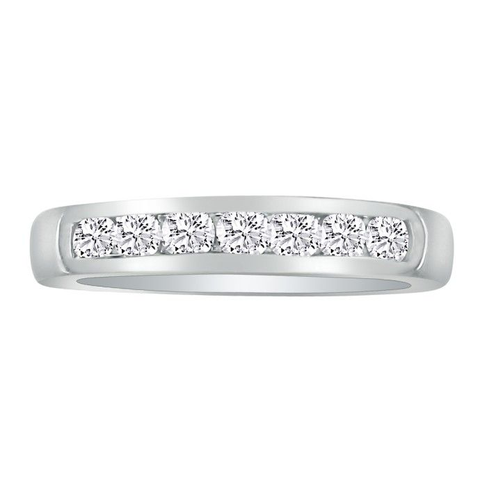 1/3ct Platinum Diamond Wedding Band, Channel Set thumbnail