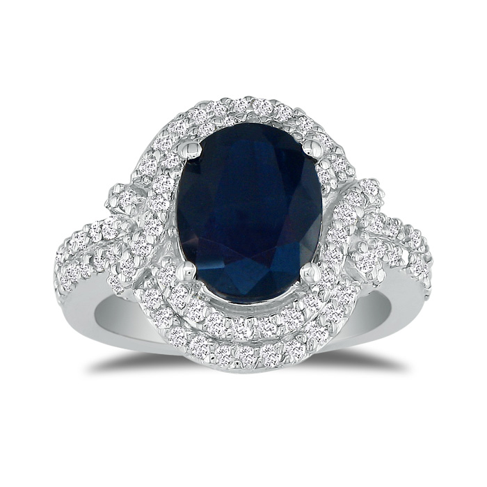 Eye-catching 4.22ct Oval Sapphire And Diamond Ring In 14k White Gold