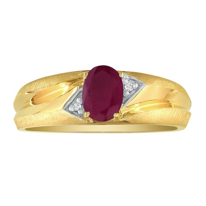 Dual Texture 10k Yellow Gold 1.07ct Oval Ruby And Diamond Mens Ring