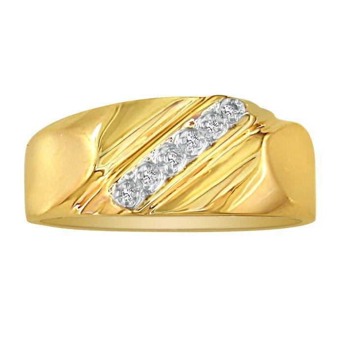 Classic Diagonal .03ct Mens Diamond Band in 10k Yellow Gold thumbnail