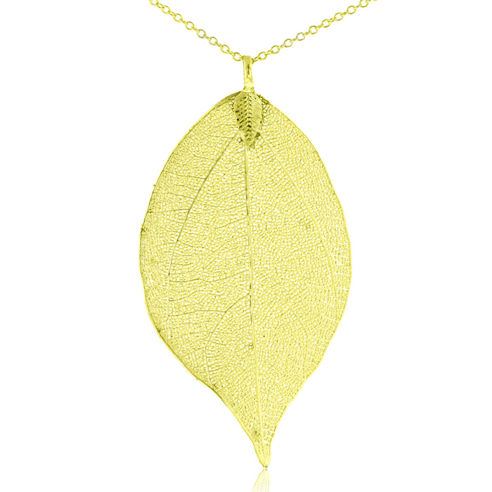24k Gold Overlay Leaf Pendant on Multiple Strand Chain