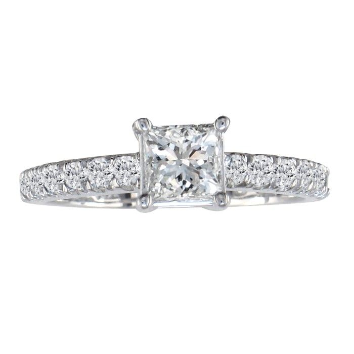 Gorgeous 1 1/4ct Princess Cut Diamond Engagement Ring, 14k White Gold
