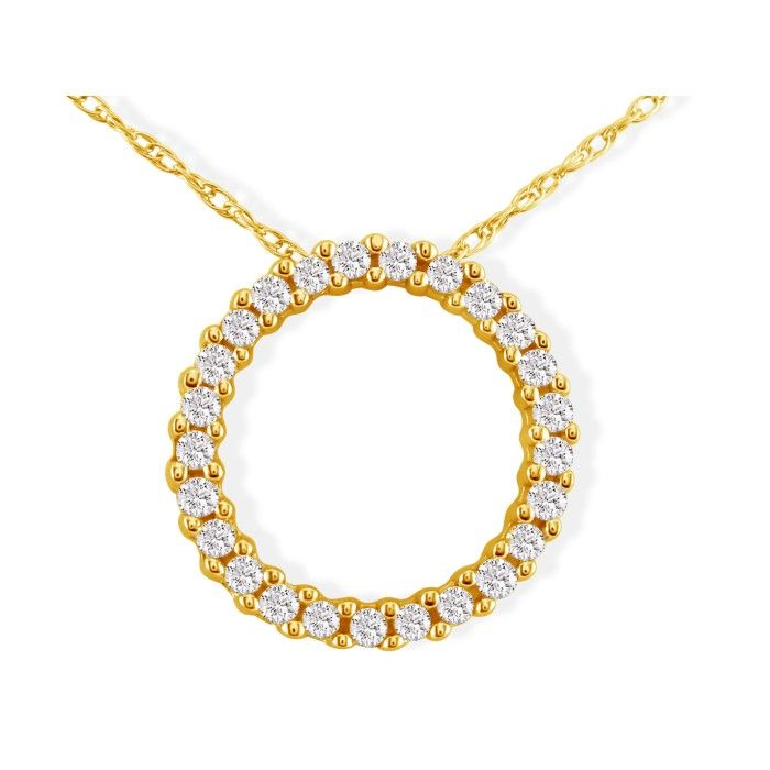 Sweet and Sparkly 1/10ct Circle Diamond Pendant in 10k Yellow Gold