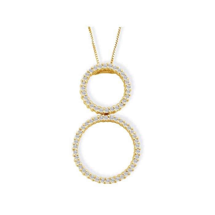 1/2ct Double Circle Diamond Pendant in 14k Yellow Gold