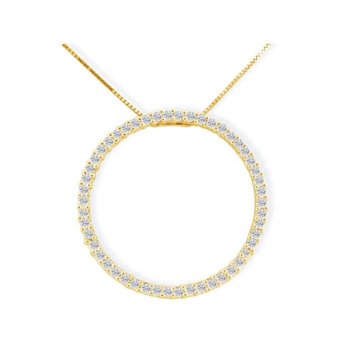 1/2ct Circle Diamond Pendant in 14K Yellow Gold