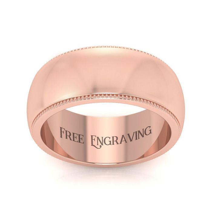 18k Rose Gold 8mm Milgrain Ladies And Mens Wedding Band, Size 7.5, Free Engraving