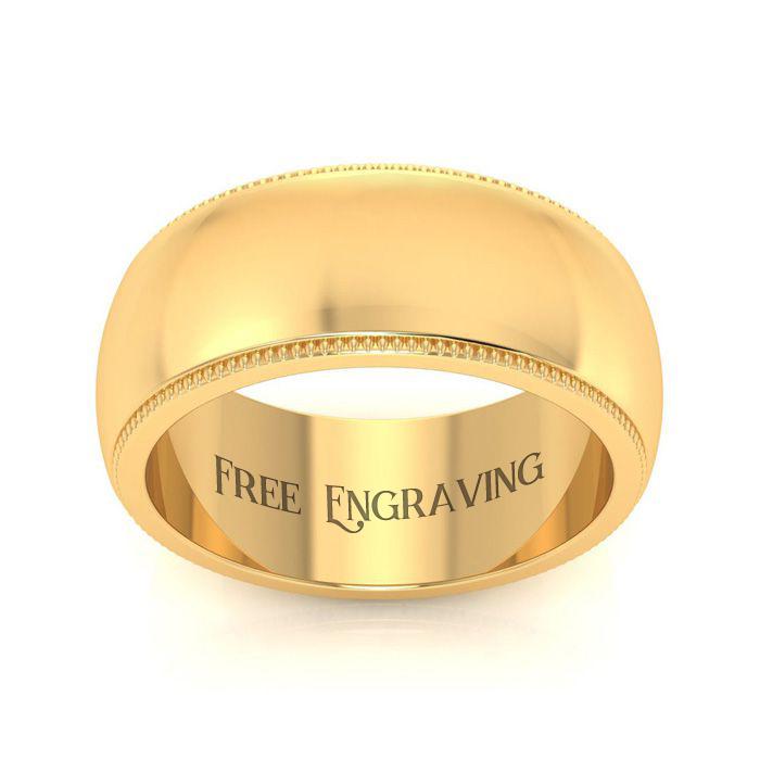 18k Yellow Gold 8mm Milgrain Ladies And Mens Wedding Band, Size 16, Free Engraving