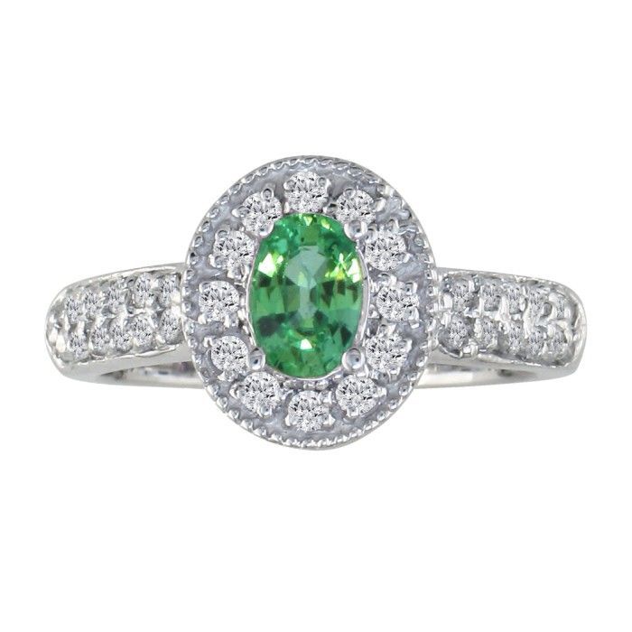 Antique Style 9/10ct Oval Emerald and Diamond Ring, 14k WG