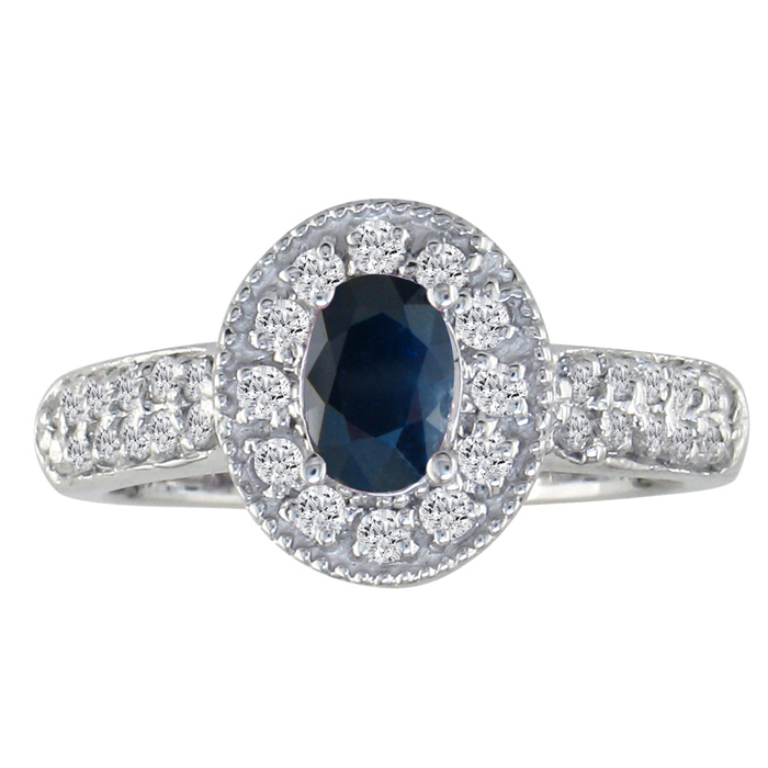 Antique Style 1ct Oval Sapphire and Diamond Ring, 14k White Gold