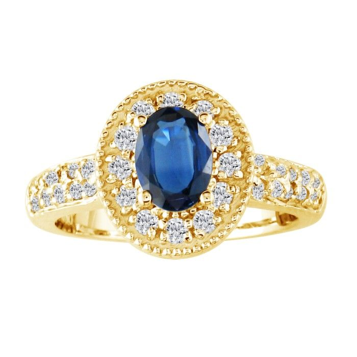 Glamorous 1 2/5ct Sapphire and Diamond Ring in 14K Yellow Gold