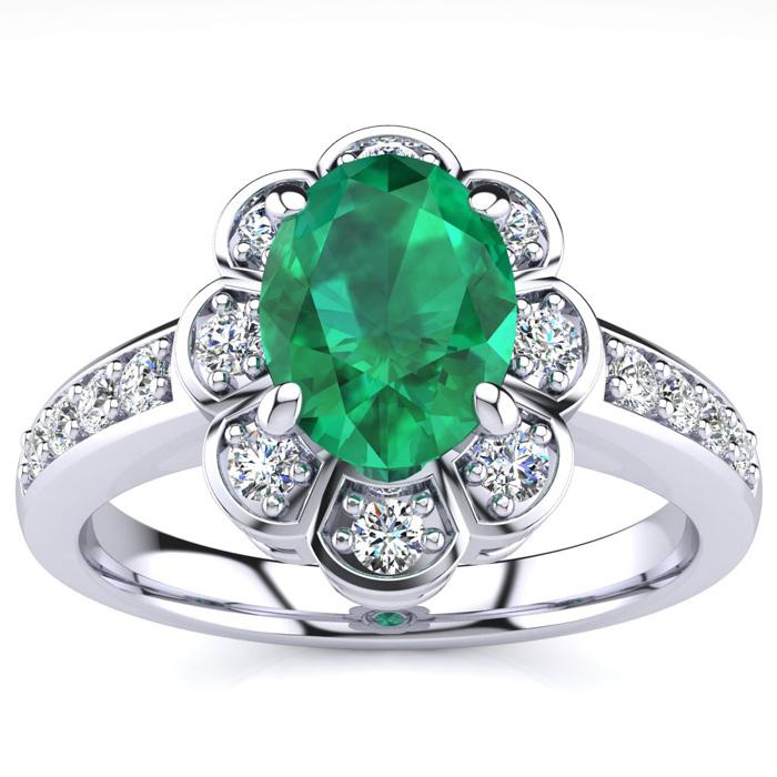Luminous 1 1/10ct Emerald And Diamond Ring In 14k White Gold