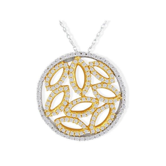 Intricate 1/2ct Reed in Circle Diamond Pendant in 14k Yellow Gold