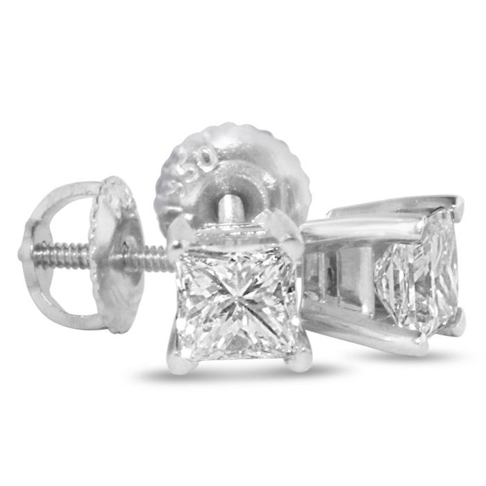 2ct Princess Cut Diamond Stud Earrings, 14k White Gold, I-J, SI