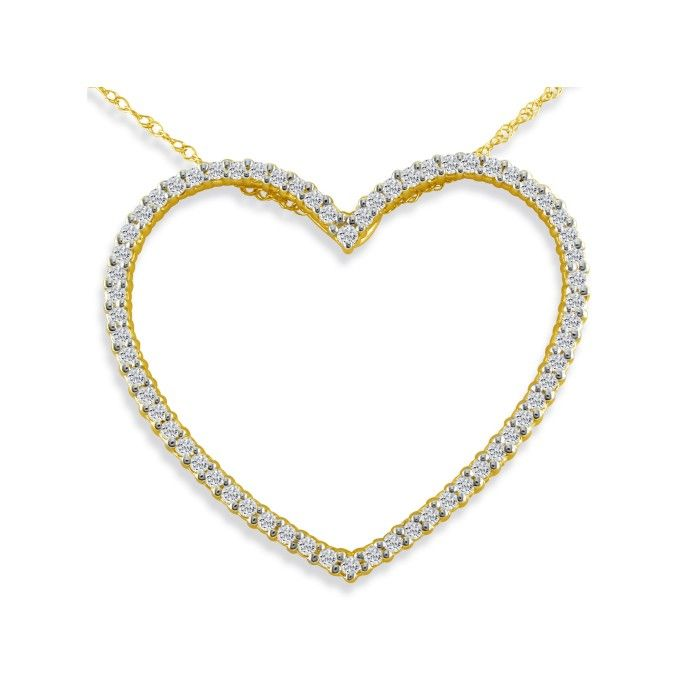Sparkly and Sweet 1/2ct Diamond Heart Pendant in 14k Yellow Gold