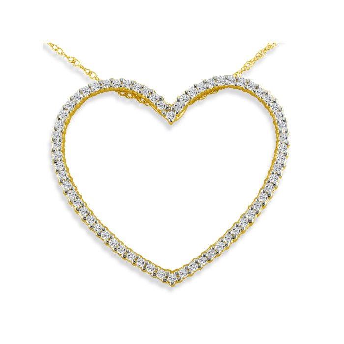 1ct Heart Shaped Diamond Pendant in 14K Yellow Gold