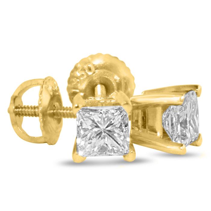 2ct Fine Quality Princess Diamond Stud Earrings In 14k Yellow Gold