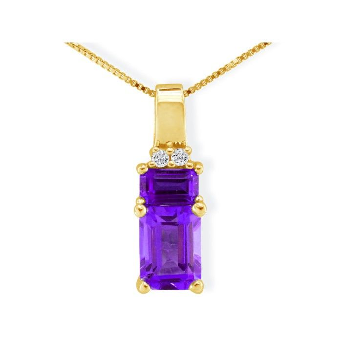 Lovely 1 2/5ct Amethyst and Diamond Pendant in 14k Yellow Gold
