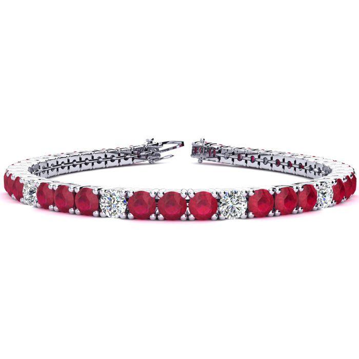 7 Inch 11 2/3 Carat Ruby And Diamond Alternating Tennis Bracelet In 14k White Gold