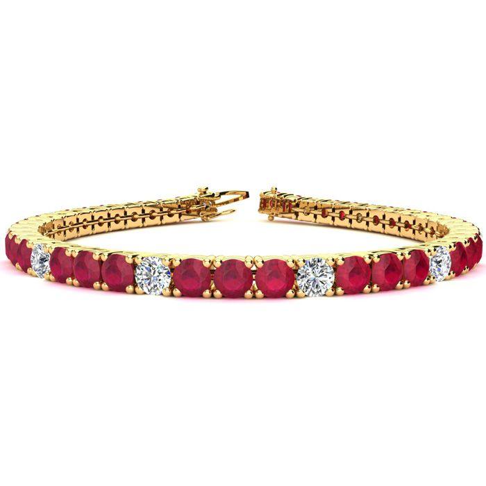 9 Inch 15 Carat Ruby And Diamond Alternating Tennis Bracelet In 14k Yellow Gold