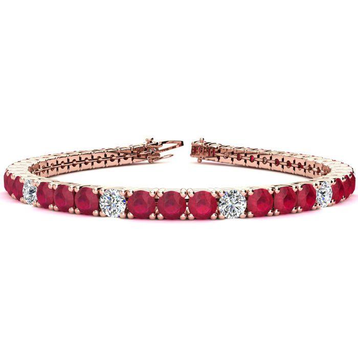 6 Inch 10 Carat Ruby And Diamond Alternating Tennis Bracelet In 14k Rose Gold
