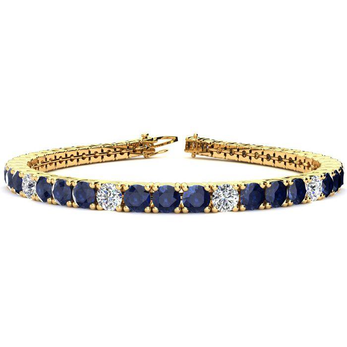 6 Inch 10 1/5 Carat Sapphire And Diamond Alternating Tennis Bracelet In 14k Yellow Gold