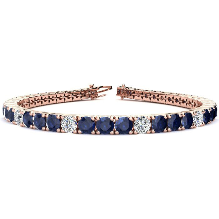 9 Inch 15 1/2 Carat Sapphire And Diamond Alternating Tennis Bracelet In 14k Rose Gold