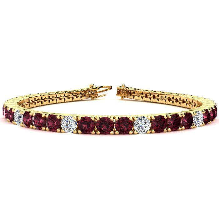 7 Inch 10 Carat Garnet and Diamond Alternating Tennis Bracelet In 14K Yellow Gold 42294