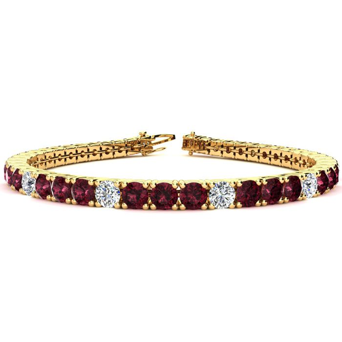 7.5 Inch 10 1/2 Carat Garnet and Diamond Alternating Tennis Bracelet In 14K Yellow Gold 42295