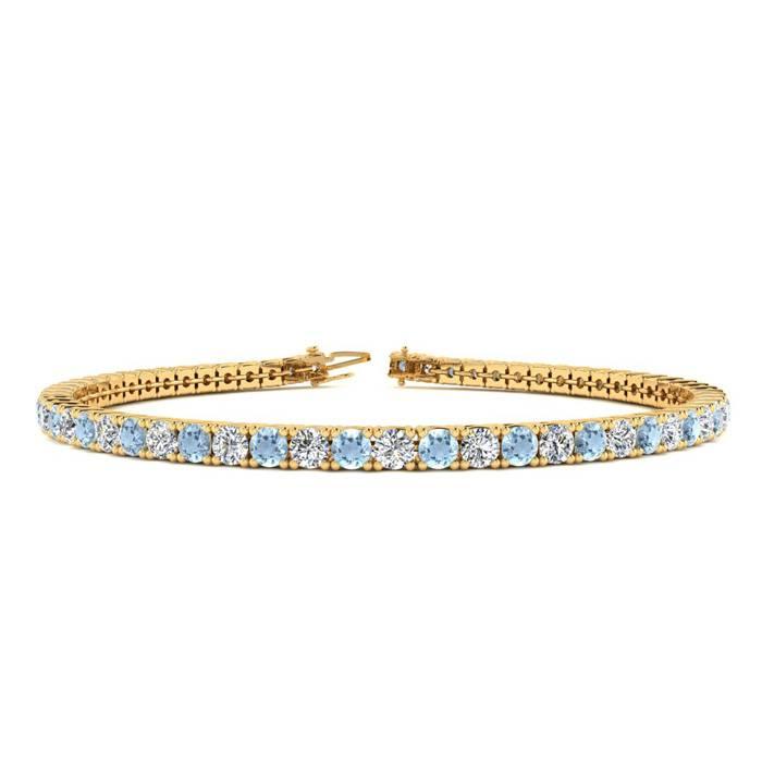 7 Inch 4 Carat Aquamarine And Diamond Tennis Bracelet In 14k Yellow Gold
