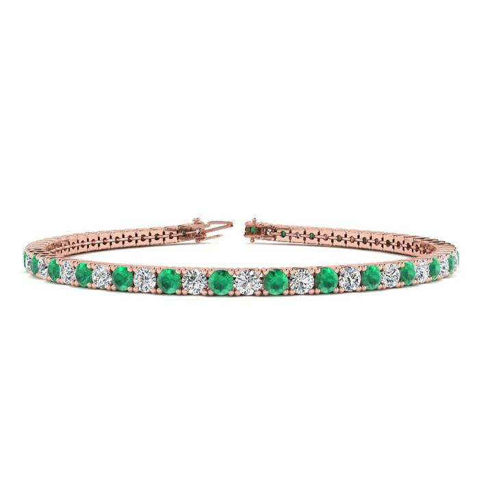 7 Inch 4 1/4 Carat Emerald And Diamond Tennis Bracelet In 14k Rose Gold