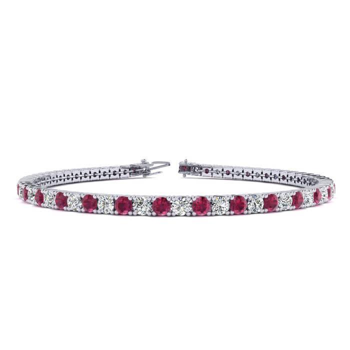 6 Inch 4 Carat Ruby And Diamond Tennis Bracelet In 14k White Gold