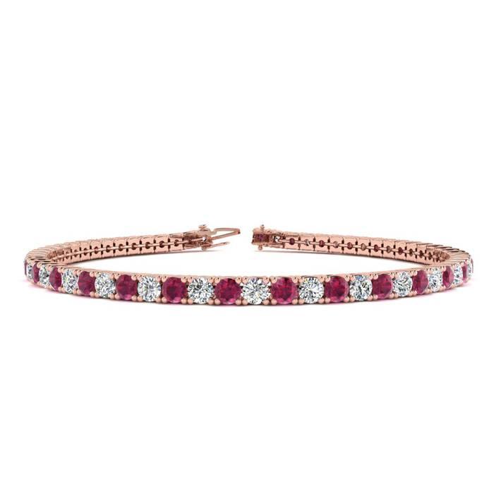 6.5 Inch 4 1/4 Carat Ruby And Diamond Tennis Bracelet In 14k Rose Gold